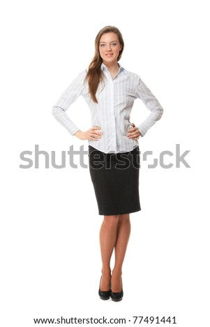 A full-length portrait of a young woman in a white blouse - stock photo