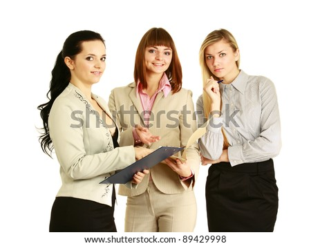 A full-length portrait of businesswomen with folder,document, isolated on white background - stock photo