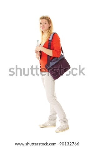A full-length portrait young college girl with books , isolated on white background - stock photo