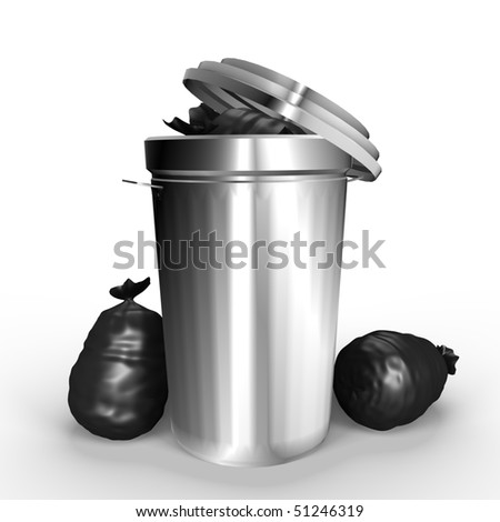 A full metallic trash can - a 3d image - stock photo