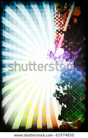 A funky and rainbow colored splatter layout with halftone texture and copy space. - stock photo