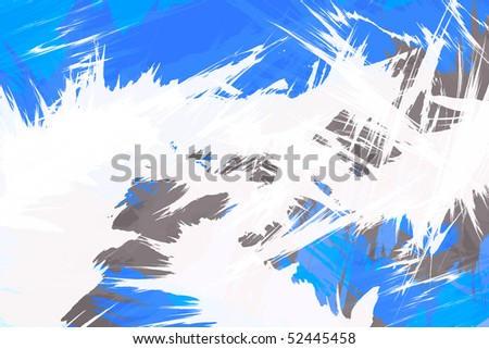 A funky illustration with white bursting flare shapes isolated over blue. - stock photo