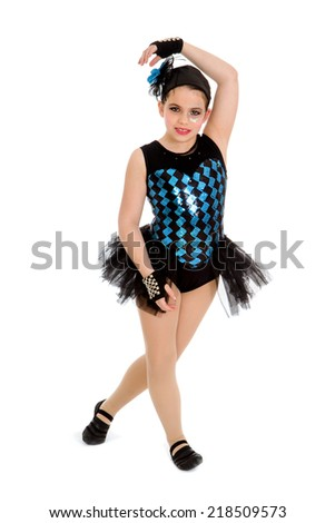 A Funky Jazz Dancing Girl in Harlequin Recital Costume - stock photo