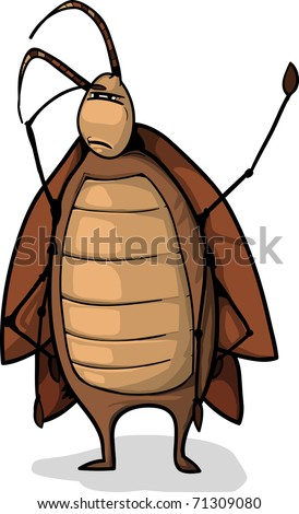 a funny Brown cartoon roach concentrated and looking for something. - stock photo