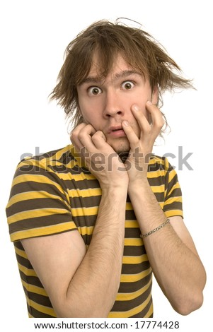 a funny guy with shocked face expression on a white  background - stock photo