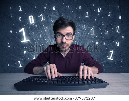 A funny hacker working hard on online passcode scanning and solving passwords with 0 1 numbers illustration in background concept - stock photo