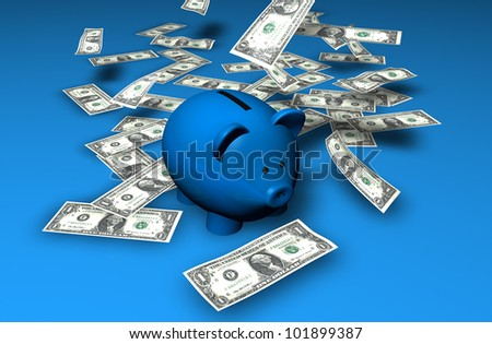 A funny piggybank or money-box with a waterfall of money (dollars). - stock photo