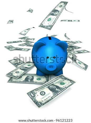A funny piggybank or money-box with falling money (dollar) - stock photo