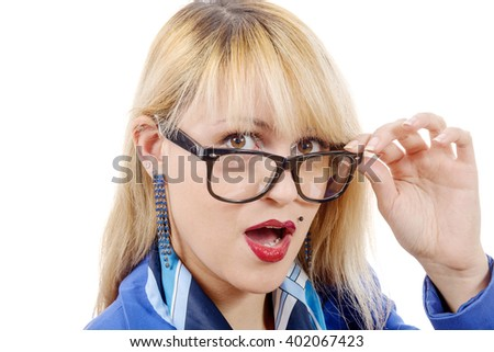 a funny portrait of a pretty blonde woman with glasses , on white - stock photo