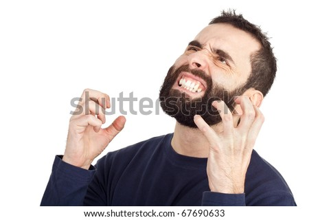 A furious bearded man rising his hands in anger and showing his teeth in the process. Isolated against a white background. - stock photo
