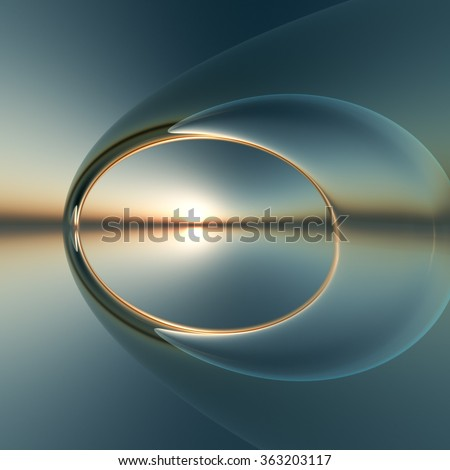 A future surreal arch over calm sea and sunset - stock photo