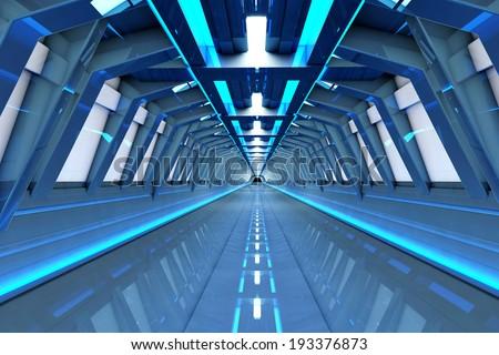 A futuristic tunnel interior. 3D rendered Illustration. - stock photo