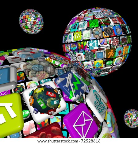 A galaxy of app planets, symbolized by several worlds of apps making up spheres, symbolizing the many opportunities for dowloading programs to mobile devices like smart phones and tablet computers - stock photo