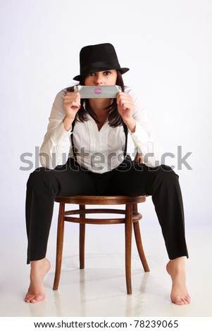 A gangster's girlfriend - stock photo