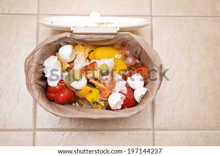 A garbage pail holding scraps of eggs and tomatoes. - stock photo