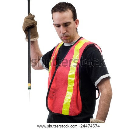 A garbage picker with a poking stick, isolated against a white background - stock photo
