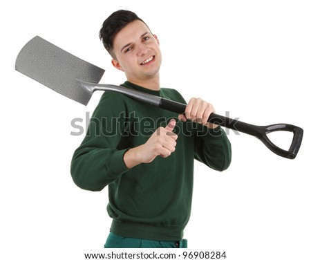 A gardener with a spade, isolated on white - stock photo