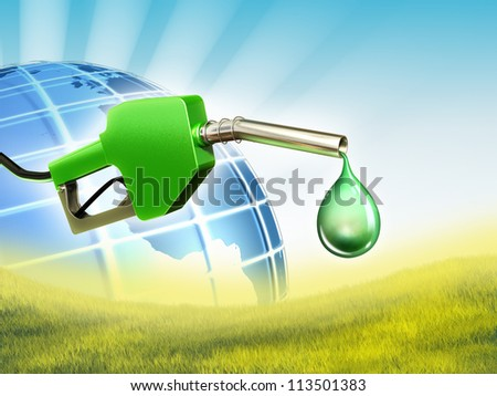 A gas nozzle with a drop of some eco-friendly fuel. Digital illustration. - stock photo