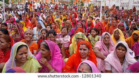 a gathering of brahmin women during a marriage match making in pushkar, india - stock photo