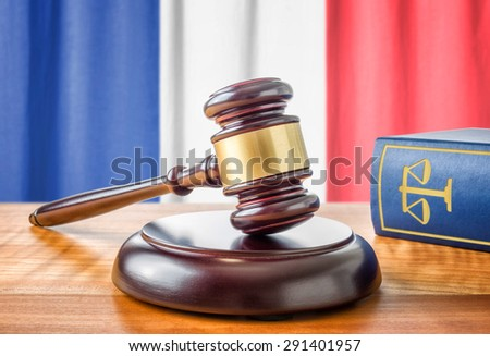 A gavel and a law book - France - stock photo