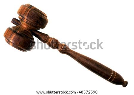 A gavel isolated on white background - stock photo