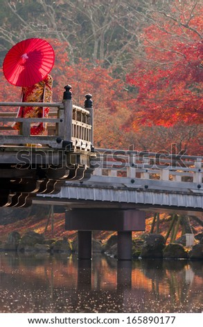 A geisha stands on a wooden bridge in Nara, Japan to enjoy the last fall foliage of the year.  - stock photo