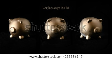 A generic gold piggy bank against a dark background as a blank template for your own design customization. Three separate views. - stock photo