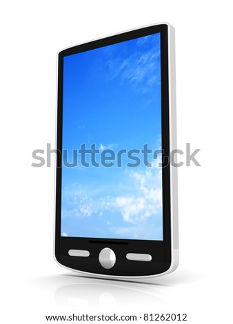 A generic Smartphone. 3D rendered illustration isolated on white. - stock photo