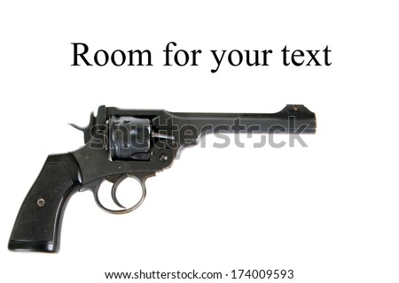 A Genuine antique 1915 British Webley Mark VI revolver which shoots the .455 caliber shell, and the .45 APC fitted with a half moon clip. Isolated on white with room for your text - stock photo