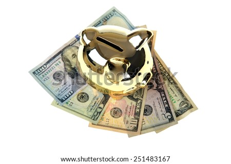 A genuine Golden Piggy Bank isolated on white with room for your text. Saving money for Retirement or a Rainy Day or a Big Ticket Item or something Special for your Special Someone is always good.  - stock photo