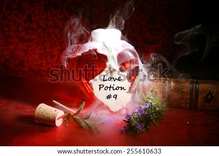 A Genuine LOVE Potion brewed up by a Gypsy, Sorceress, Fortune Teller, Witch, Match Maker, Vixen, or someone who has studied White Magic or the Dark Arts. Love Love Potion #9 - stock photo