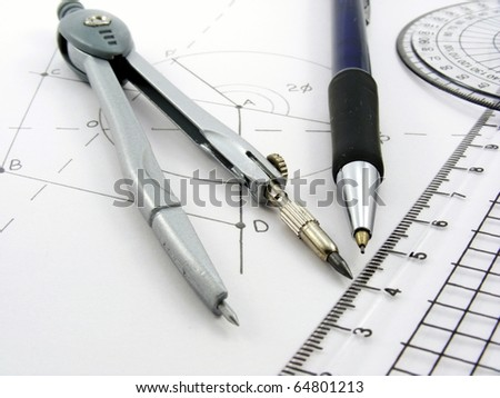 A geometry image with geometrical diagram & utensils - stock photo