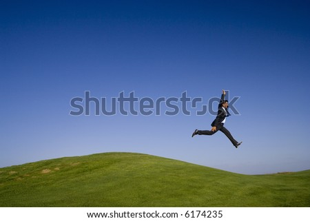 a giant step on a beautiful green and blue landscape - stock photo