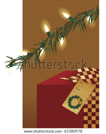 A gift with a country ribbon and folk art gift tag sits under a lit tree - stock photo