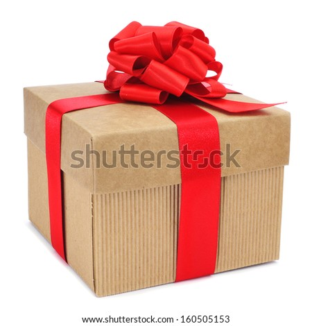 a gift with a red ribbon on a white background  - stock photo