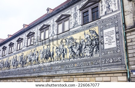 A gigantic painting in the historic center of Dresden, Germany. A Procession of Princes painted on 25000 porcelain tiles. It was completed in 1907. - stock photo