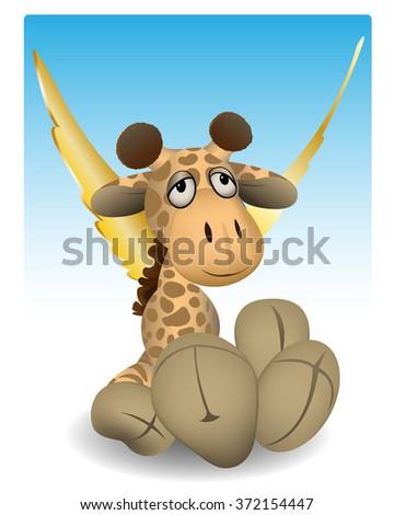 a giraffe with wings like an angel - stock photo