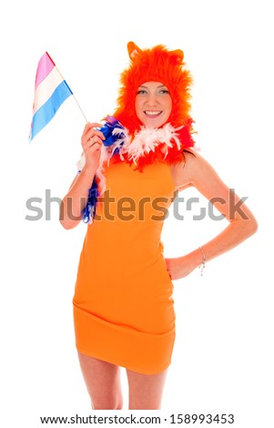 a girl, a supporter of the dutch soccer-team. - stock photo