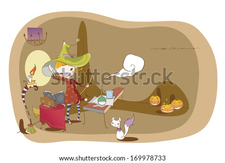 A girl dressed as a witch casts a spell. - stock photo