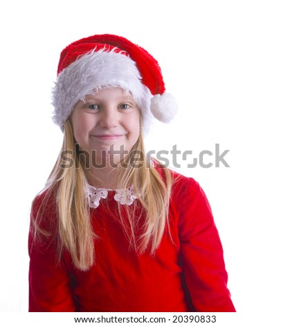 A girl elf in red leaning to the left of the frame - stock photo