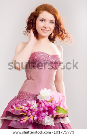 A girl in a smart dress - stock photo