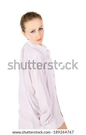 a girl in a white shirt posing isolated on white background - stock photo