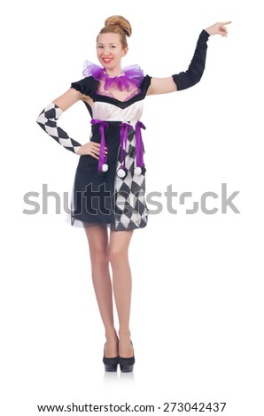 A girl in harlequin costume isolated on white - stock photo