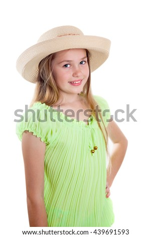 """A girl is making gesture is """"Fine"""", isolated on white background - stock photo"""