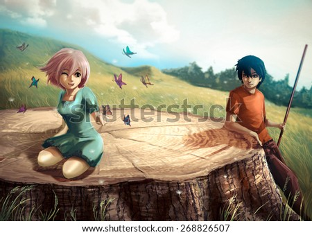A girl is playing with butterflies on a giant stump with her boyfriend looking in vintage color - stock photo