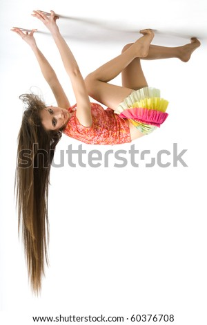 a girl on the ceiling - stock photo