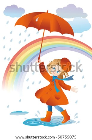 A girl with a red umbrella goes for a walk in the rain - stock photo