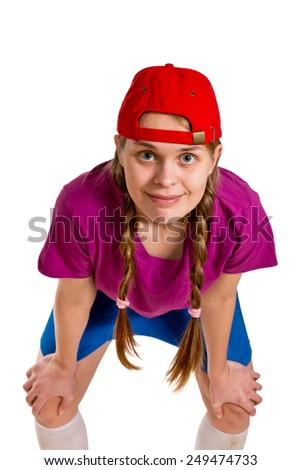 a girl with red cap isolated on the white - stock photo