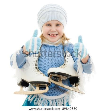 A girl with skates on white background. - stock photo