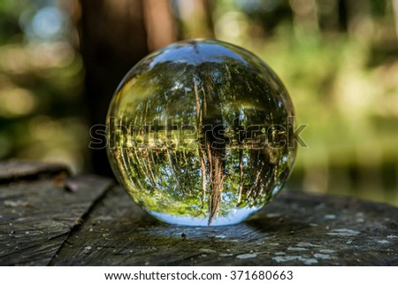 A glass ball showing the refraction of a lake - stock photo